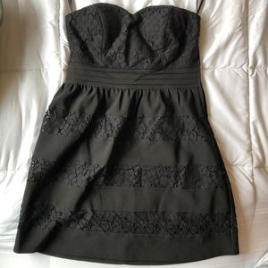 Strapless Black Mini Dress With Lace Detail
